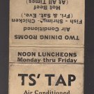 Vtg TS' Tap 1930s 1940s Bar Lounge Restaraunt Kenosha Wisconsin Matchbook Cover