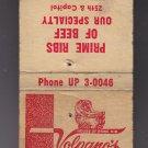 Vtg Volprano's House of Prime Rib Milwaukee's Favorite Phone: UP3-0046 Matchbook