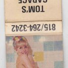 Vintage Retro Pinup Girl Shower Tom's Garage Welding Machine Shop Matchbook
