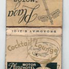 Vintage Plaza Motor Hotel Cocktail Lounge Milwaukee Wisconsin Matchbook Matches