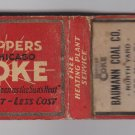 Vintage Retro Koppers Chicago Coke Heating Baumann Coal Co Milwaukee Matchbook