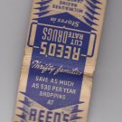 Vintage Rare Reed's Drugs Milwaukee Green Bay Janesville Wisconsin Matchbook