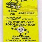Vtg Tommy Bartlett Robot World Wisconsin Dells Matchbook Matches Match Cover