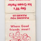 Retro Gay 90's Ice Cream Parlor Gatlinburg Tennessee Matchbook Matchcover