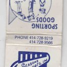 Retro Seasons Sports Ltd Delavan Wisconsin Sporting Goods Matchbook Matchcover