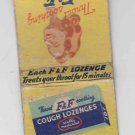 Vintage Retro F&F Cough Lozenges Adds Pleasure to Smoking Matchbook Matchcover