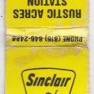 Vintage Sinclair Gasoline Oil Rustic Acres Station Blackwater Missouri Matchbook