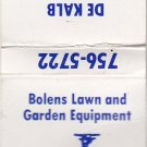 Vtg De Kalb Lawn & Equipment Co Illinois Al Quitno Bolens Mower Garden Matchbook