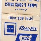 Retro GMC Real-Lite Holiday Rambler LeMay & Sons Sales Kenosha Matchbook Cover