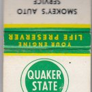 Vtg Retro Quaker State Oil Keep Your Car Running Young! Smokey's Auto Matchbook