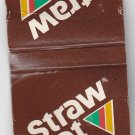 Vtg Straw Hat Pizza Advertisement Brown Triangle Matchbook Cover