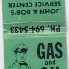 Vintage Retro Gas and Oil Standard John & Bob's Service Center Matchbook Green