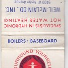 Vtg Weil-McLain Hydronic Hot Water Heating Foster Ave Chicago Matchbook Cover