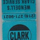 Vtg Retro Clark Oil Gas Gasoline Fuel Wendell's Service Cleveland Matchbook Blue