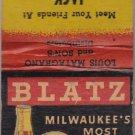 Vintage Blatz Beer Pale Dry Jack Matranga Racine Wisconsin Matchbook Matches