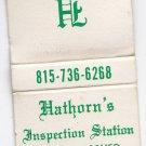 Hathorn's Inspection Station Truck Bus Testing Lisbon Illinois Matchbook Cover