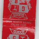 Vtg Guido's Racine and Port Richey Florida Wisconsin Red Silver Matchbook Cover