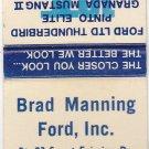 Vtg 1975 Ford Dealer Advertisement Brad Manning DeKalb Illinois Matchbook