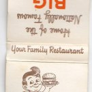 Vtg Retro Big Boy Hamburger Family Restaurant Unique Matchbook Cover