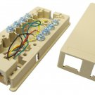 Allen Tel AT444 6 Position 4 Conductor Modular Duplex Surface Jack - Ivory
