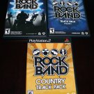 Playstation 2 PS2 Rockband 3 Game Lot Rock Band Country Pack Track Pack Vol 1