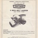 "Sears Craftsman 3"" 3 inch Belt Sander Owners Manual Model: 315.22420"