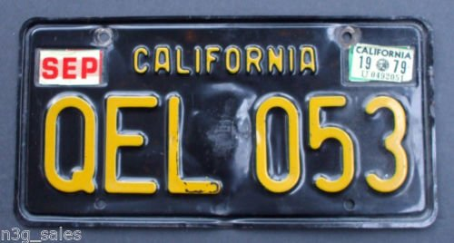 Vintage 1963 63 California CA License Plate Single (1) Black