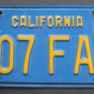 Vintage 1970 70's California License Plate Single (1) Blue & Yellow # 307 FAP