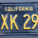 Vintage 1963 63 California License Plate Single (1) Black & Yellow # PXK 296