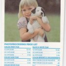 Vtg Technicolor Young Girl & Puppy Film Processing Process Order Envelope 70s