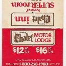 Vtg Retro Chalet Inn Chalet Motor Lodge Triple AAA Laminated Card Room Rates