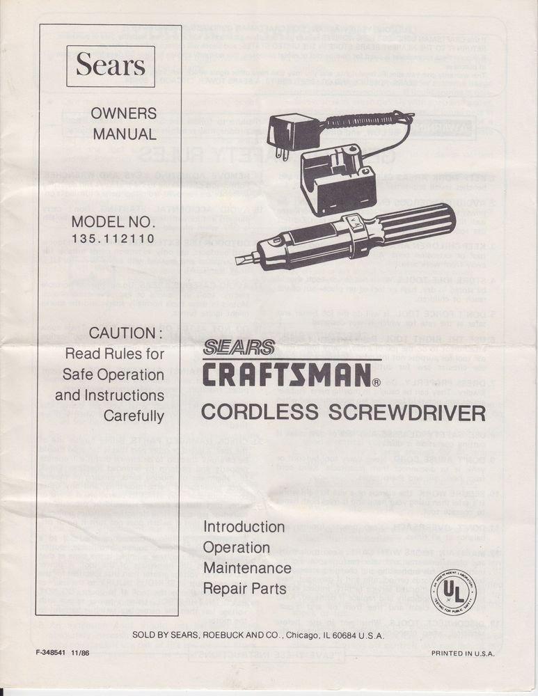 sears craftsman cordless screwdriver owners parts manual. Black Bedroom Furniture Sets. Home Design Ideas