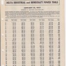 Vtg 1957 57 Delta Rockwell Industrial Homecraft Power Tools Numerical Price List