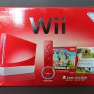 Nintendo Wii Super Mario Bros. Pack Red Console (NTSC) 2 Games Included VG+