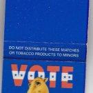 Vtg Retro Vote Joe Camel Cigarettes Cigarette Camel Party Candidate Matchbook VG