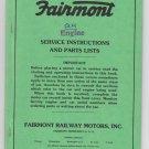 Fairmont Railway Motors QH B Engine Service Instructions Parts Lists 239C Manual