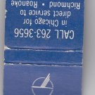 Vtg Piedmont Airlines 'Now Serves Chicago' Matchbook Matches Match Cover