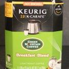 NIB Keurig 2.0 K Carafe Pods Green Mountain Coffee Breakfast Blend 8 Pack K Cup
