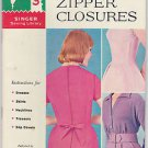 Vintage 1960 60 Singer Sewing Library How To Make Zipper Closures Book Booklet