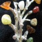 80's Vintage 10 Glass Gemstone Branch Brooch