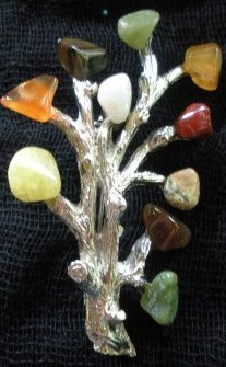 80�s Vintage 10 Glass Gemstone Branch Brooch
