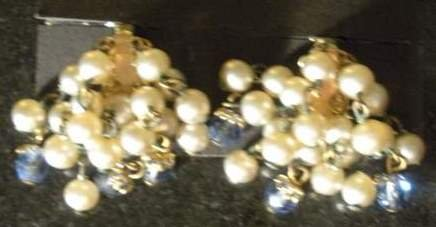 Vintage Cluster Clip On with Glass Blue Beads
