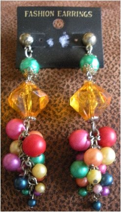 80�s Vintage Fashion Beaded Earrings Made in Philippine