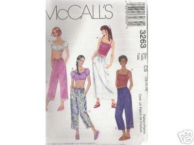 GIRLS TOPS -STRING CAPRI PANTS & SKIRT McCALL'S PATTERN