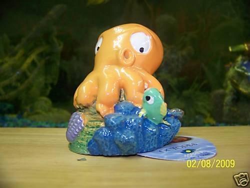 Aqua Toons ORANGE OCTOPUS Decoration for aquariums NEW