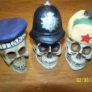 3 SKULLS With  British hat - helmet - titanic  NEW  2""