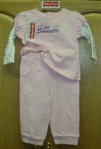 FISHER PRICE 2PC GIRLS  SET PANT/LS SHIRT 6-9 MO ~NWT