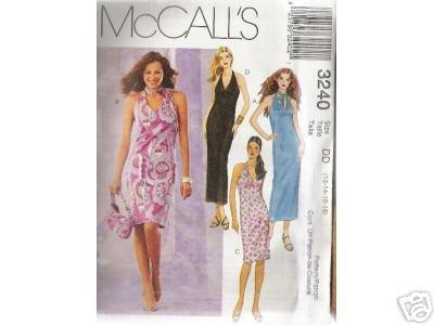 SLEEVELESS HALTER DRESSES McCALL'S PATTERN 12-18