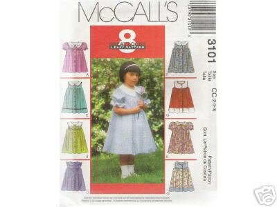 TODDLERS' DRESS with OR w/o Sleeves McCALLs PATTERN 2-4