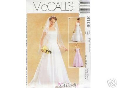 BRIDAL GOWN & BRIDESMAlD DRESSES McCALL'S PATTERN 18-22